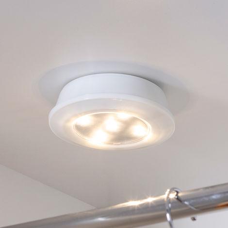 Lights4fun Lot de 4 Lumières à Bouton Poussoir Blanc Chaud à Télécommande