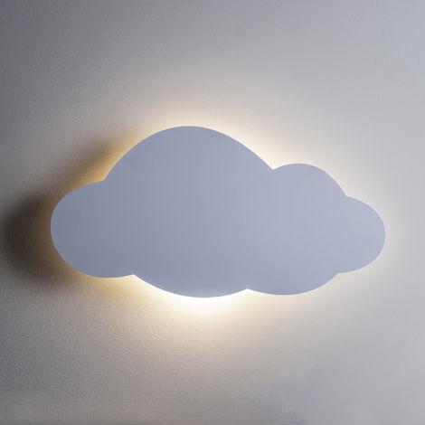 LIghts4fun Veilleuse LED Murale en Forme de Nuage à Piles avec Télécommande