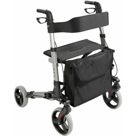Lightweight aluminium folding 4 wheel rollator walking frame with seat and bag
