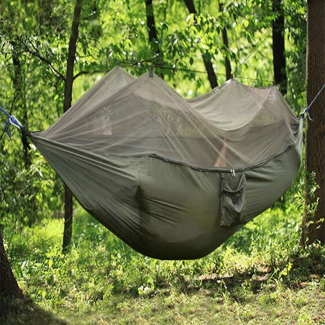 Lightweight Army Green Camping Hammock with Mosquito Net 270cm x 140cm