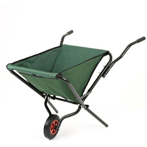 Lightweight Garden Space Saving Polyester Folding Wheelbarrow - Max Load 50kg