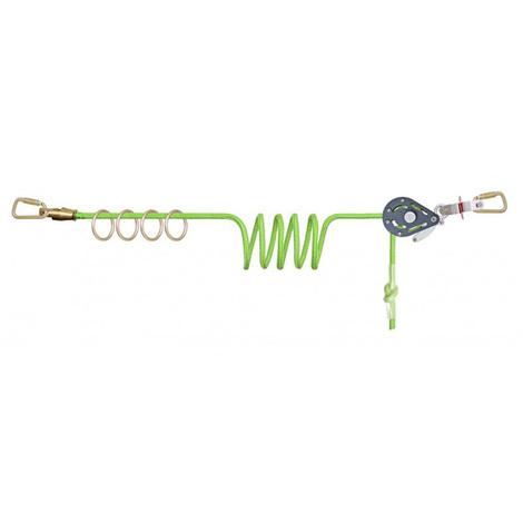 Ligne de vie temporaire à corde avec 4 anneaux