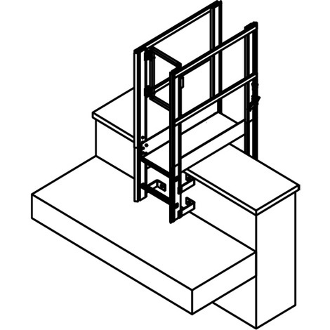 Ligne de vie vertical à rail - Intégrée à l'échelle + Passage d'acrotère (plusieurs tailles disponibles)