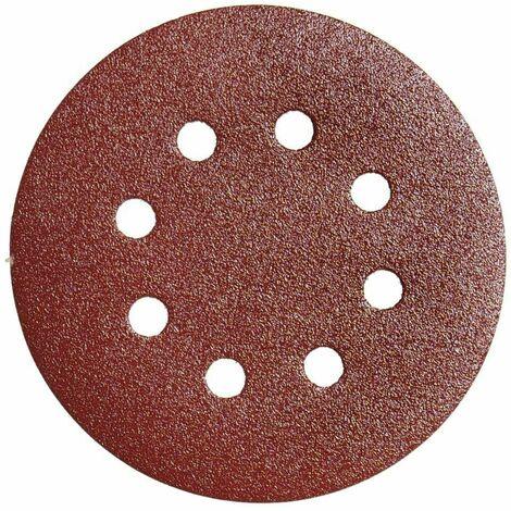 Lija recambio velcro disco Ø 125 mm. con agujeros grano 180 (10 Piezas)