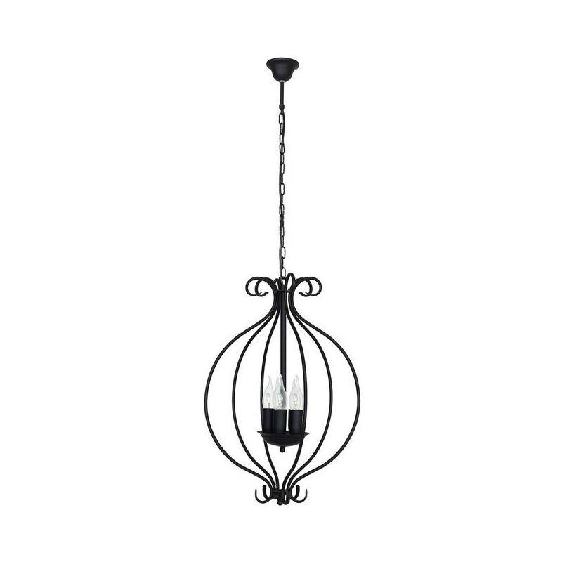 Homemania - Lilac Haengelampe - Kronleuchter - Deckenkronleuchter - Schwarz aus Metall, 39 x 39 x 90 cm, 5 x E14, 40W
