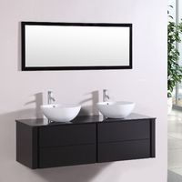 Lilia Wenge : ensemble salle de bain meuble + 2 vasques + 1 miroir