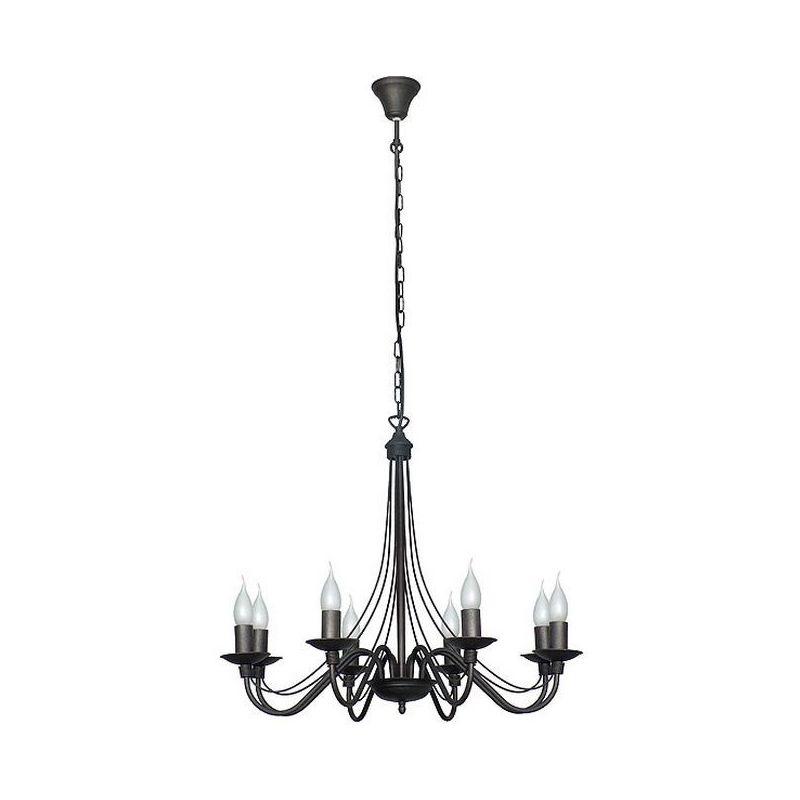 Lilium Haengelampe - Kronleuchter - Deckenkronleuchter - Schwarz aus Metall, 65 x 65 x 108 cm, 8 x E14, 40W