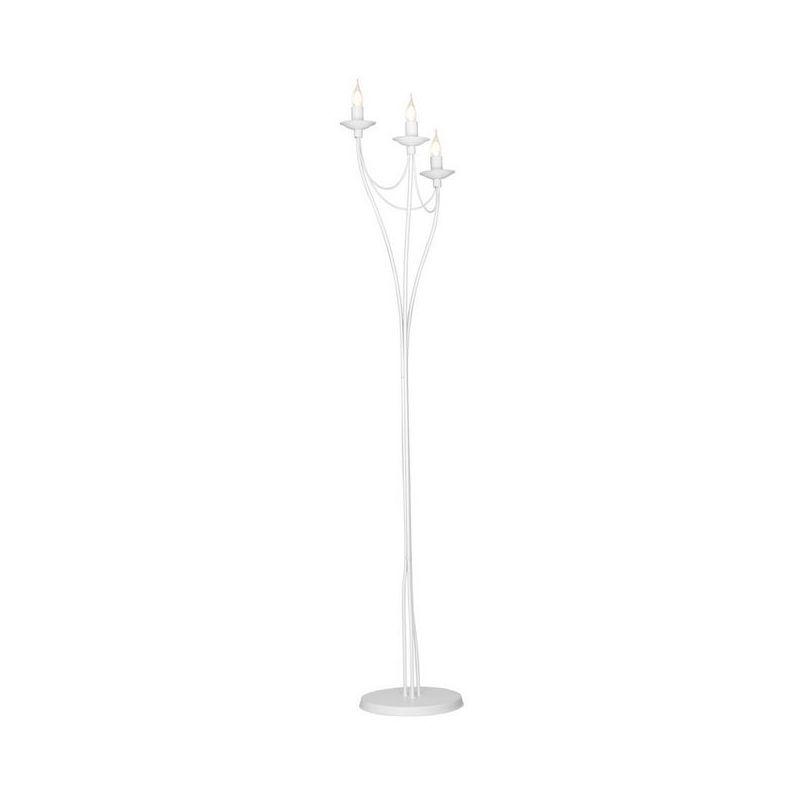 Lilium Stehleuchte - Etage - Wohnzimmer, Etage - Weiss aus Metall, 30 x 30 x 164 cm, 3 x E14, 40W - HOMEMANIA