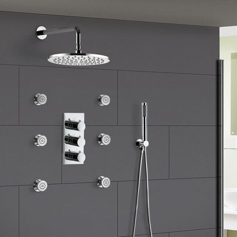 Lilly 3 Dial 3 Way Round Concealed Thermostatic Mixer Valve Hand Held Shower Body Jet