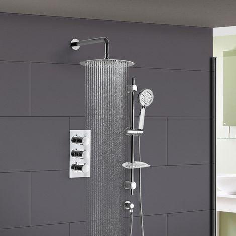 Lilly Thermostatic 2 Way Round Set - Slim Shower Head & Slider Rail Handset
