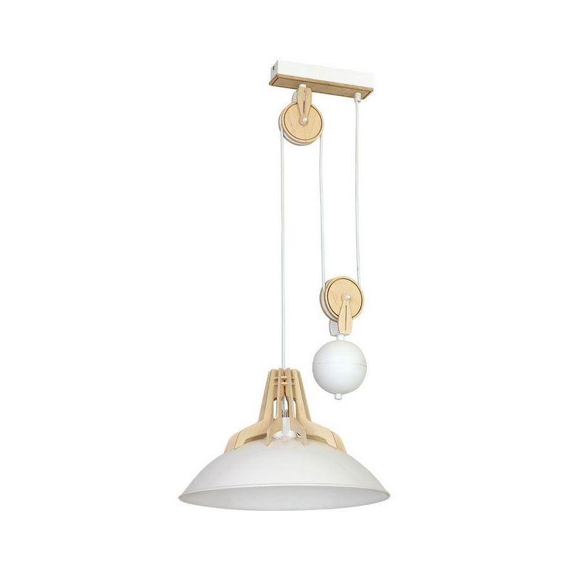 Homemania - Lilus Haengelampe - Kronleuchter - Deckenkronleuchter - Weiss aus Metall, Holz, 37 x 37 x 85 cm, 1 x E27, 60W