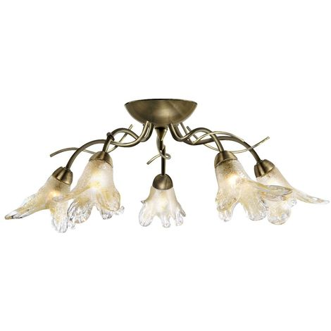 LILY 5 LIGHT ANTIQUE BRASS SEMIFLUSH FITTING - COMPLETE WITH AMBER PETAL GLASS