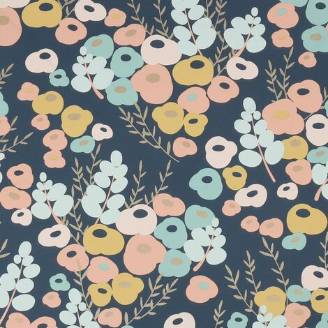 Lily Multicolore Wallpaper Floral Flowers Navy Blue Pink Peach Yellow Gold