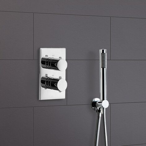 Lily Round Concealed Thermostatic Shower Valve Mixer Set - Shower Handset
