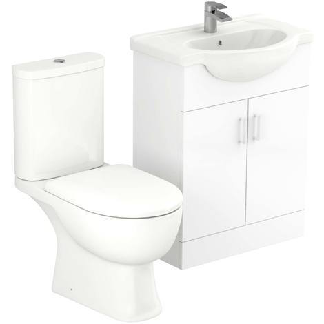 Lima 650mm Vanity Unit & Open Back Toilet Suite
