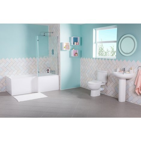 Lima Bathroom Suite with Right Hand L Shape Shower Bath