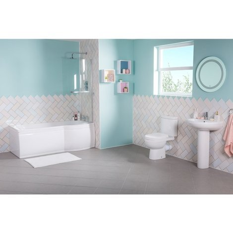 Lima Bathroom Suite with Right Hand P Shape Shower Bath