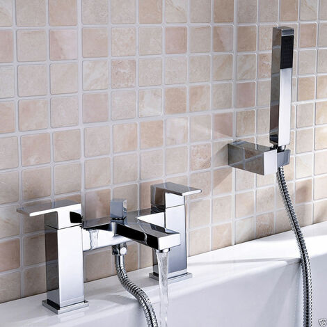 "main image of ""Lima Cube Bath Shower Mixer & Shower Handset Chrome"""