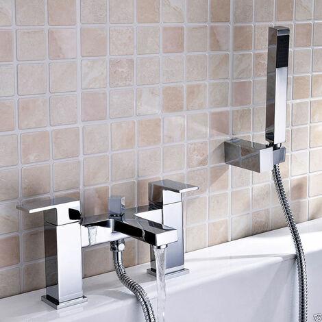 Lima Cube Bathrrom Bath Square Chrome Modern Shower Mixer with Shower Handset