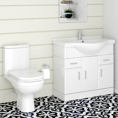 Lima Toilet & 850mm Vanity Unit Cloakroom Suite
