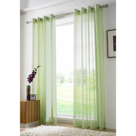 """Lime Eyelet Ring Top Voile Curtain Panel 72"""" Drop"""