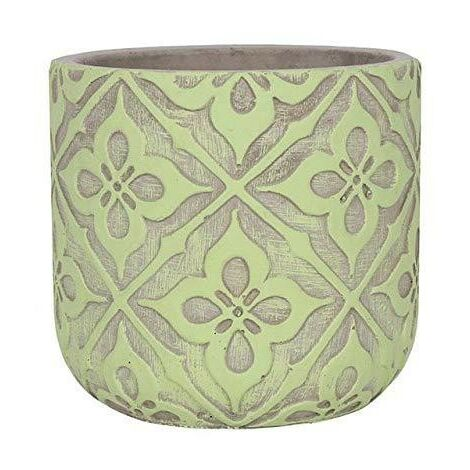 Lime Green Plant Pot (One Size) (Lime/Grey)