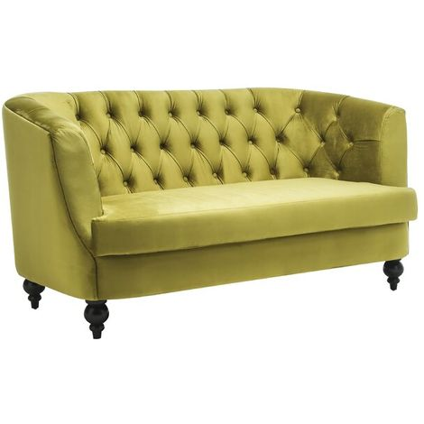 Lime Green Velvet 2 Seater Sofa