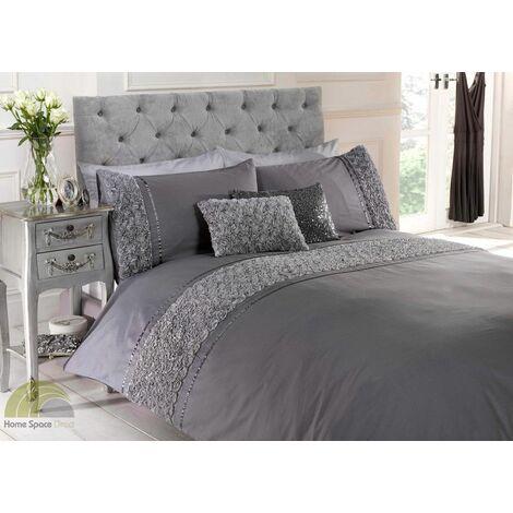 Limoge duvet cover & pillowcase set - grey - single