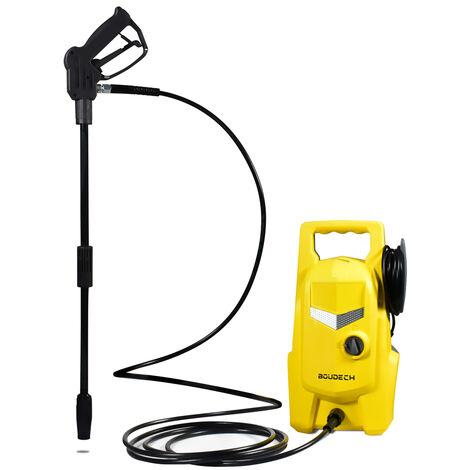 Limpiadoras eléctricas de alta presión 105 Bar 1400W 6,2 L/MIN con accesorios y flecha para limpiar el suelo y la lavadora.
