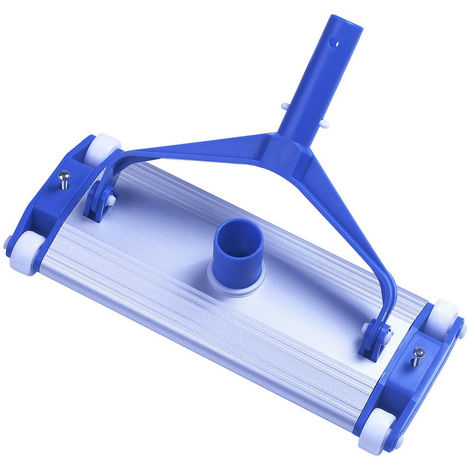 Limpiafondos manual con cepillo y ruedas azul de aluminio de 35x14 cm