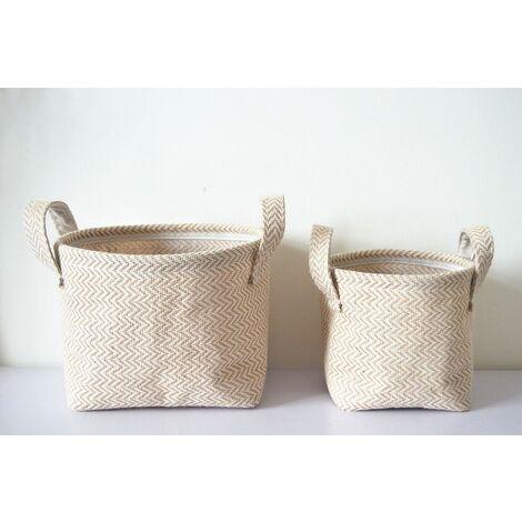Lin coton mélange panière de rangement pour bureau sacs gain de place Pot de fleur papeterie jouet rangement poche Vintage décoration de la maison 2pcs S+L
