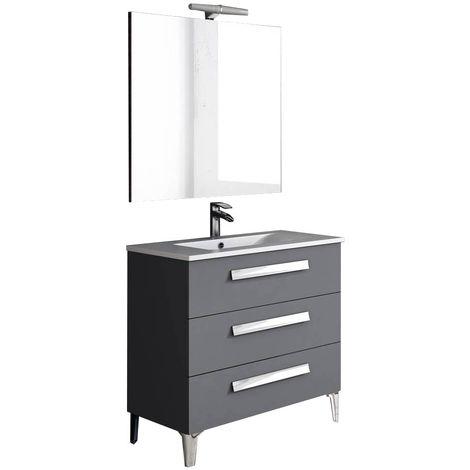 LINARES Conjunto mueble de baño Antracito 80 cm