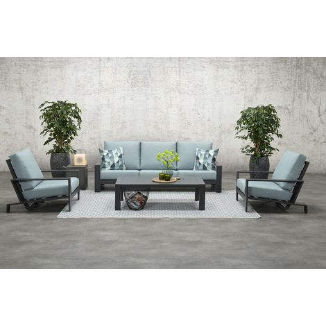 Lincoln 3 Seater Sofa Suite. Charcoal Grey Frame with Mint Grey Cushions.