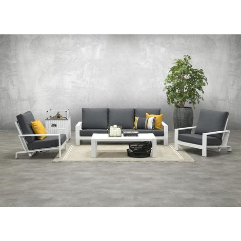 lincoln 3 Seater Sofa Suite. White Frame with Charcoal Grey Cushions.