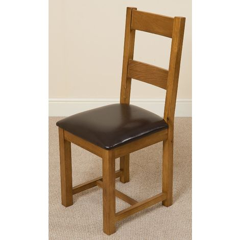 Lincoln Solid Oak Dining Chair [Rustic Oak and Brown Leather]