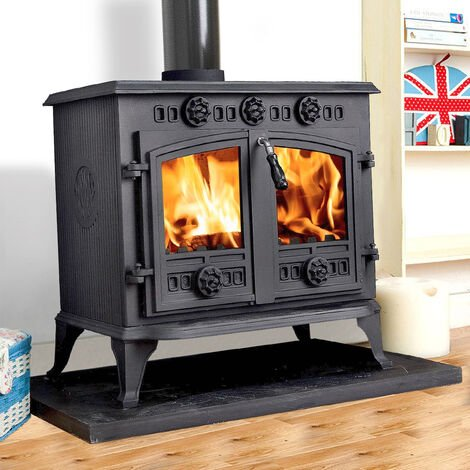 Lincsfire 12KW Sudbrooke Cast Iron Multifuel Woodburning Stove Log Burner Woodburner Fireplace JA006