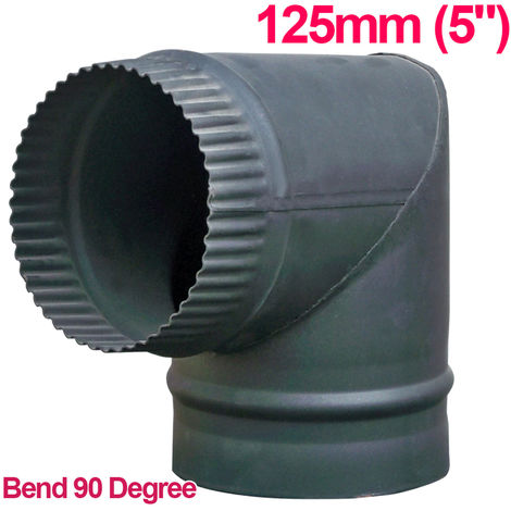 "Lincsfire 5"" 90 Degree Bend Steel Flue Pipe Chimney for Wood Log Burning Multifuel Stove"