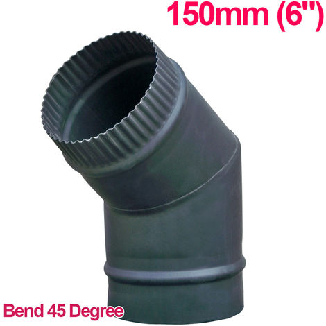 "Lincsfire 6"" 45 Degree Bend Steel Flue Pipe Chimney for Wood Log Burning Multifuel Stove"