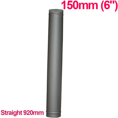 "Lincsfire 6"" 920mm Straight Length of Flue Pipe Chimney for Wood Log Burning Multifuel Stove"