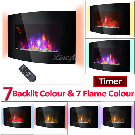 "Lincsfire Harby 42"" 2KW Black Curved Glass Screen Wall Mounted Electric Fire Flame Effect Fireplace Heater Stove 7 Day Programmable Remote Control"