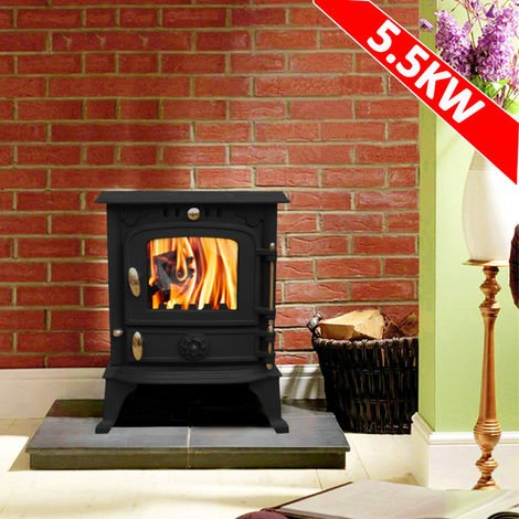 Lincsfire Harmston JA013S 5.5KW Multifuel Stove Clean Burn Wood Burner Log Burning Fire Woodburning Fireplace Cast Iron Woodburner