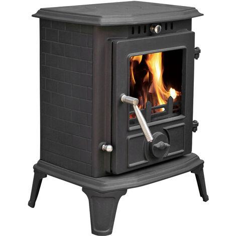 Lincsfire Modern Hatton JA060 5.5KW MultiFuel WoodBurning Stove Clean Burn WoodBurner Cast Iron Log Burner Woodburning Fireplace