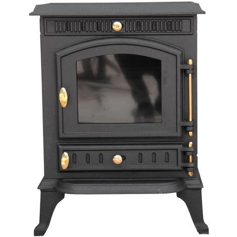 Lincsfire Navenby JA010 7.5KW Multifuel Woodburning Stove Wood Burner Log Burning Fire Fireplace Cast Iron Woodburner