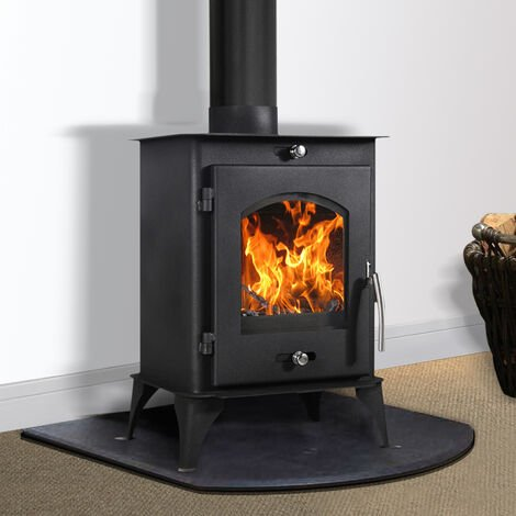 Lincsfire Nettleham 7.56KW Modern Log Burner Multifuel Wood Burning Stove WoodBurner Fireplace