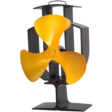 """main image of """"Lincsfire Upgrade Blade Heat Powered Stove Fan for Wood/Log Burner Fireplace - Eco Friendly and Efficient Fan (Gold)"""""""