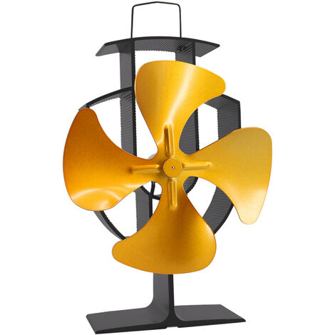 Lincsfire Upgrade Blade Heat Powered Stove Fan for Wood/Log Burner Fireplace - Eco Friendly and Efficient Fan (Gold)