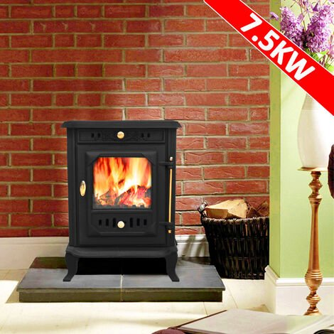 Lincsfire Waddington JA001 7.5KW Multifuel Woodburning Stove Wood Burner Log Burning Fire Fireplace Cast Iron Woodburner