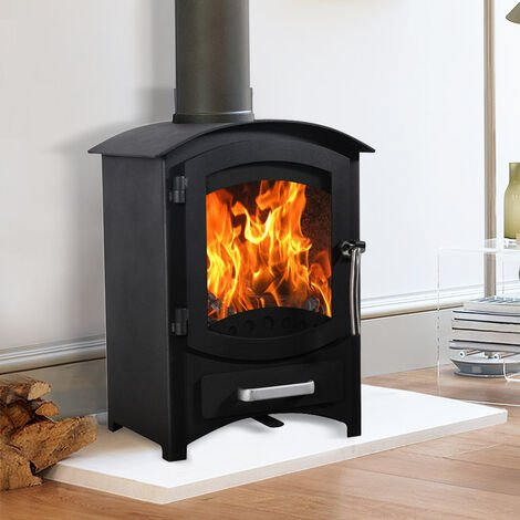Lincsfire Wellingore 6.22KW Modern Log Burner MultiFuel Wood Burning Stove WoodBurner Woodburning Fireplace