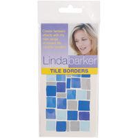 Linda Barker Tile Border Transfers Blue Mosaic Design For Kitchens and Bathrooms 70 x 150mm (Pack of 8)
