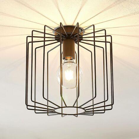 Lindby Agosto lámpara de techo, jaula metal, negro